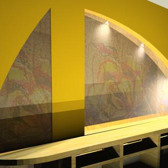 Vienas iš projektų nestandartinio namo miegamojo antrame aukšte.Tarsi langas-arka su mano sukurto vitražo motyvu,tai vidinis langas patalpoje,iš kurios matytųsi svetainė pirmame aukšte.