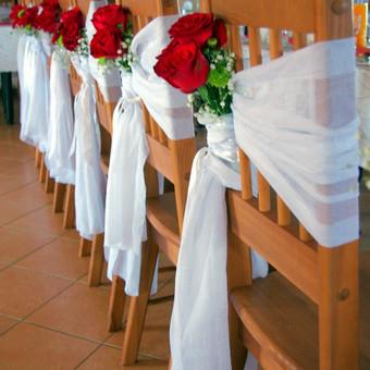 S&V vestuvės Kėdžių dekoravimas gyvomis gėlėmis