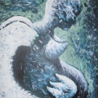 Angelas, akrilas, drobė, 50x70.