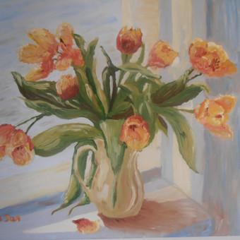 Dvigalvės tulpės, aliejus, drobė 50x70.