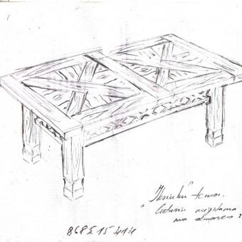Eskizai medžio baldams.