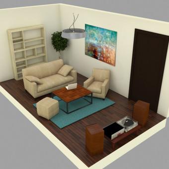 3D vizualizacijos pavyzdys. Interjeras. Užsakovas - privatus asmuo.