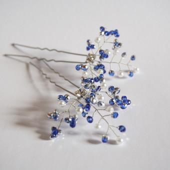 Prabangūs rankų darbo smeigtukai į plaukus. Swarovski kristalai, čekiškas stiklas. Galimi kitų spalvų variantai. vestuvėms / išleistuvėms / krikštynoms / mergvakariui