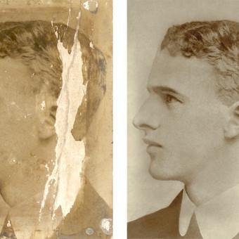 1906 m. nuotraukos restauravimas, trūkstamų detalių atstatymas
