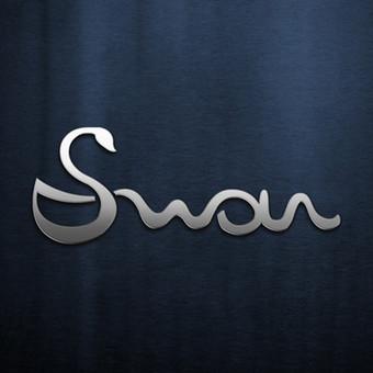 Swan - tekstas su integruotu gulbės ženklu.