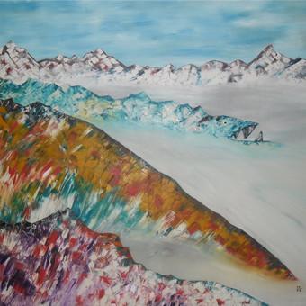 """Aliejiniais dažais ant drobės tapytas paveikslas, pavadinimu - """"Alpėse"""", 100x109cm. Parduodamas už 230 EUR"""