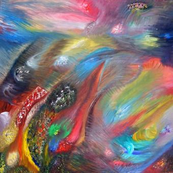 """Aliejiniais dažais ant drobės tapytas paveikslas, pavadinimu - """"Pasaulių kaita"""", 50x50cm."""