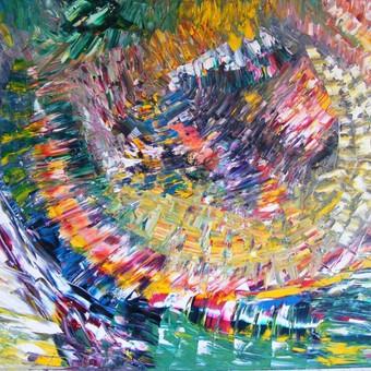 """Aliejiniais dažais ant drobės tapytas paveikslas, pavadinimu - """"Drakono glėbyje"""", 70x100cm. (Parduotas, iškeliavo į Maskvą, į privačią kolekciją.)"""