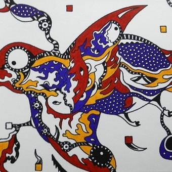 """Spec. markeriais ant drobės pieštas grafikos paveikslas, pavadinimu - """"Paukštis. Skrydis į laisvę"""", 30x60cm."""
