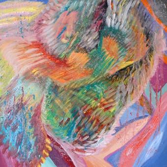 """Aliejiniais dažais ant drobės tapytas paveikslas, pavadinimu - """"Nuotaika"""", 50x50cm."""
