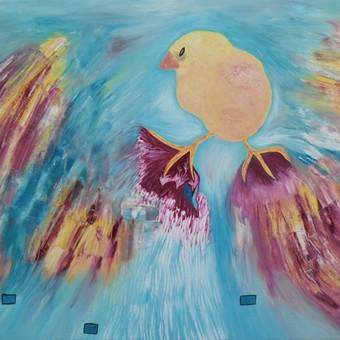 """Aliejiniais dažais ant drobės tapytas paveikslas, pavadinimu - """"Viščiukas"""", 50x70cm."""