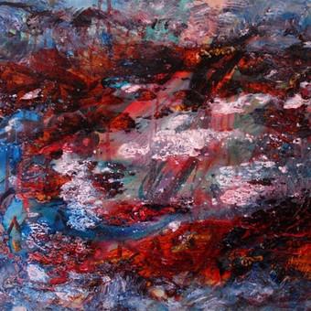 """Mišria technika ant drobės tapytas paveikslas, pavadinimu - """"Audra"""", 50x70cm."""