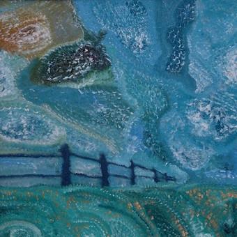 """Mišria technika ant preskartono tapytas paveikslas, pavadinimu - """"Tvora"""", 68x68cm. (Įrėmintas, melsvi rėmai)  Šio paveikslo nuotrauka, taip pat, yra mano antrosios poezijos knygos - """"Už stikl ..."""