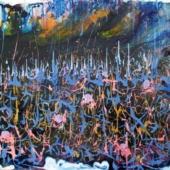 """Mišria technika ant drobės tapytas paveikslas, pavadinimu - """"Šnabždesiai"""", 100x120cm."""