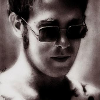 Elton John portretas. Grafitas, popierius