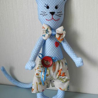 Katinas su šortukais, dydis 30 cm. medvilnė