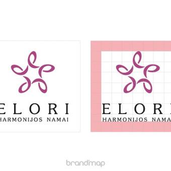 """""""Elori"""" logotipas ir struktūrinis tinklelis."""