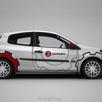 """""""JustParts"""" logotipas ir automobilio apipavidalinimas."""