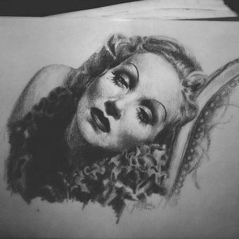 Marlene Dietrich, grafitas