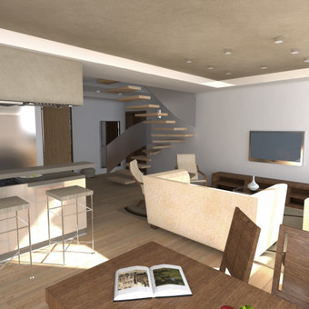 Buto interjero projektas 1. Svetainės ir virtuvės apjungta erdvė. Apšvietimo ir lubų projektas, baldų išdėstymo projektas, spalvinė ir medžiagų parinkimo gama.