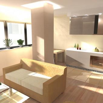Buto interjero projektas 2. Atliktas pilnas patalpų planas, elektros ir baldų išdėliojimo planai. Parinktos spalvos, dekoro elementai, baldų pavyzdiniai gaminiai.