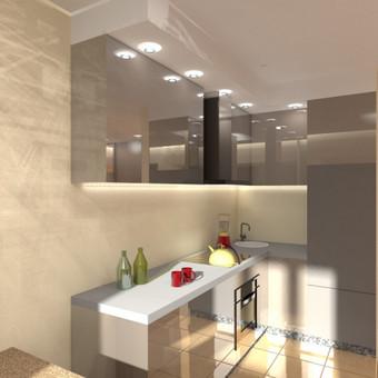 Buto interjero projektas 2. Virtuvės sprendiniai, apšvietimo idėjos, prietaisų išdėliojimo planas.