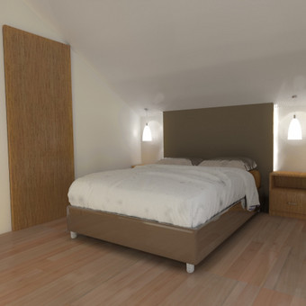 Buto interjero projektas 3. Miegamojo zona, apšvietimo idėja - atitraukta papildoma dekoro sienutė.