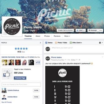 Kavinė Vingio parke. Facebook paskyros ir internetinio puslapio administravimas