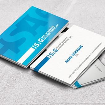 """""""HSAG"""" dvipusės vizitinės kortelės."""
