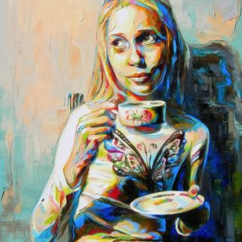 """Paveikslas """"JK15-0401_Mergaitė su puodeliu arbatos"""", aliejus-drobė, 60x90cm. (PARDUOTAS)."""