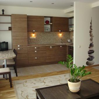 Daugiafunkcinė bendroji buto erdvė su virtuve, kurioje galima ne tik valgyti, bet ir darbuotis kompiuteriu, priimti svečius.