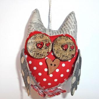 Dekoracija Apuokiukas - Valentino dienai. Medvilnė