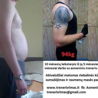 10 mėnesių asmeninių treniruočių gerinan bendra fizinį pasirengimą