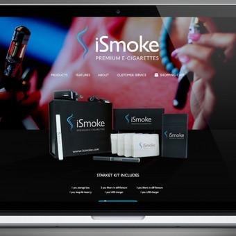 iSmoke elektroninių cigarečių e-parduotuvės dizainas ir logotipas. Projektas vykdomas