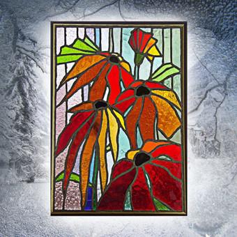 Vitražo miniatiūra. Kabinama ant lango Gėlės I
