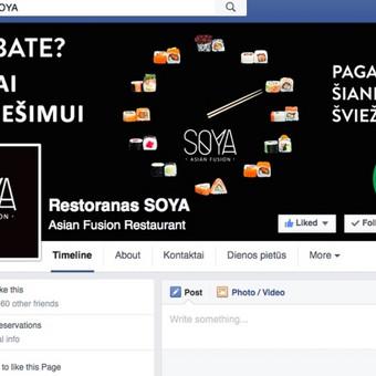 Restorano SOYA Facebook paskyros paleidimas, administrvimas.