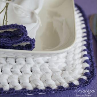 Levanda. Servetėlė.Polėkštė Viskas pagaminta iš lietuviško lino ir trikotažinių siūlų.