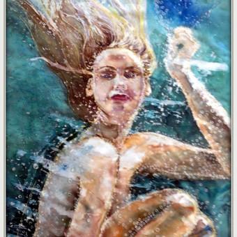 """Silko paveikslas """"Vandenyje"""" - atspindi visiska vandens skaidruma ir susiliejima su vidiniu """"As"""""""