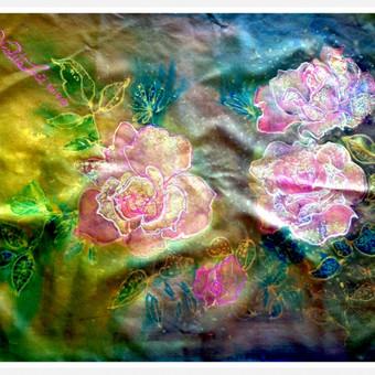 """Silko paveiksliukas """"Rozytes"""" - mazo formato paveiksliukas kuri galima jungti su kitais panasiais paveiksliukais 50X39 cm"""