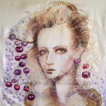 "Silko paveikslas ""Victoria"" -  pagal uzsakyma piesta dovana mergaitei Los Andzele"