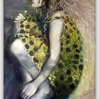 """Silko paveikslas """"Atspindys"""" - auksu dvelkiantis kurinys kuris papuos kiekviena interjera."""