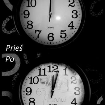 Laikrodžio viduje nupiešta Antano sodyba