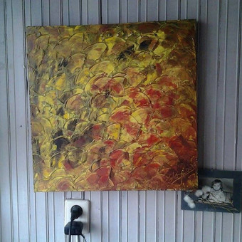 """Aliejiniais dažais tpytas 60x60 paveikslas. """"Ruduo"""""""