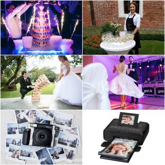 Papildomos mūsų paslaugos: Vaišių staliukas po ceremonijos Gėrimų piramidės šou Mega Jenga Momentinis fotoaparatas (Polaroid) Mobilus fotoprinteris Vestuvinio šokio pamokos