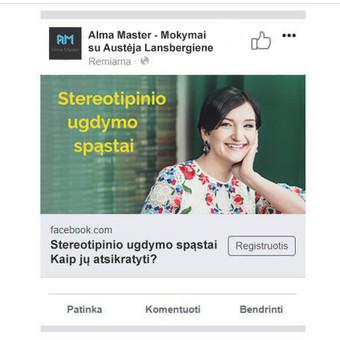 Reklamos kampanija Alma Master mokymams.