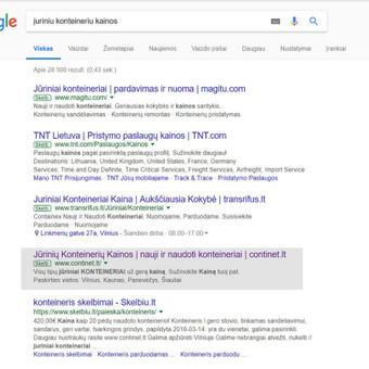Reklamos kampanija Google paieškoje (AdWords).