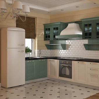 lengva, nedidelė dviejų spalvų kantri stiliaus virtuvė