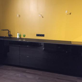 Virtuvė: Fasadai - blizgiai dažytas MDF; Stalviršis - Fenix Nero Compact 12mm.