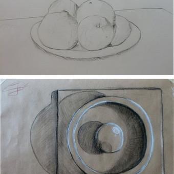 Vaiko (13m.) grafiški piešiniai iš natūros. Įv., popierius, pieštukai, anglis, kreida.