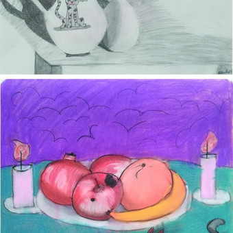 Vaikų mažų (8m.) kūrybiniai natiurmortai. A3, pieštukas, pastelė.